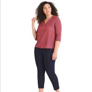Renee C semi sheer coral/navy blouse